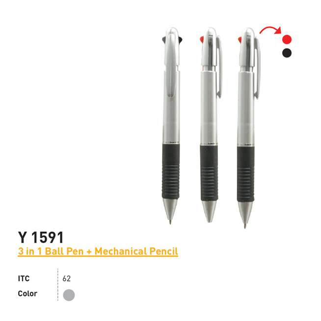 Y 1591 - 3 in 1 Ball Pen + Mechanical Pencil
